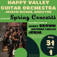 "Happy Valley Guitar Orchestra Spring Concerts<br><font style=""e;font-size: 0.60em; font-family: 'Open Sans', sans-serif; font-weight:bold""e;>May 31 & June 1, 2019</font>"